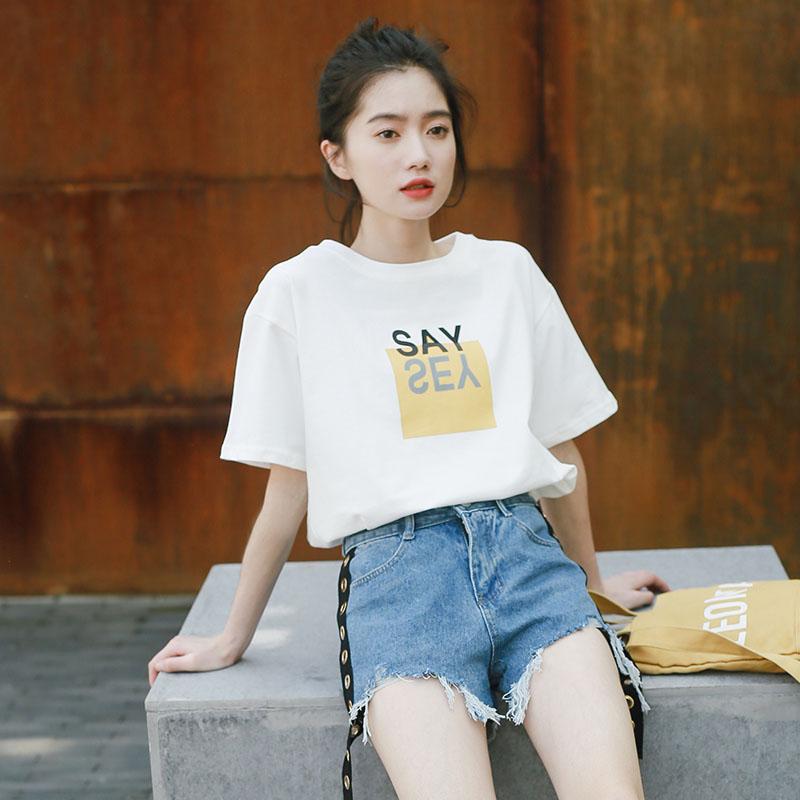 短袖t恤女2018夏装新款韩版宽松显瘦圆领白色字母百搭学生上衣