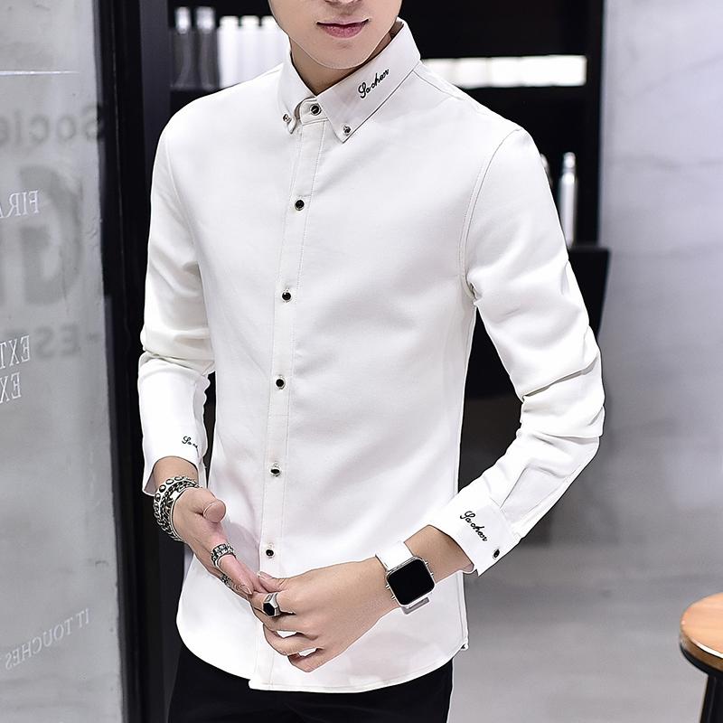 男士白衬衫男长袖学生韩版修身加绒加厚保暖衬衣帅气冬季男装衣服