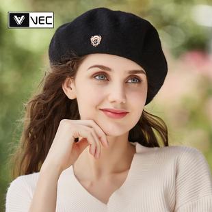 英伦帽子女羊毛贝雷帽女秋冬韩版日系百搭画家帽蓓蕾帽毛呢南瓜帽
