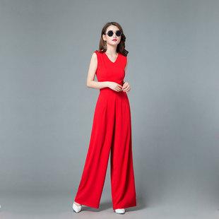 新款阔腿连体裤红色女夏装雪纺修身高腰连体衣