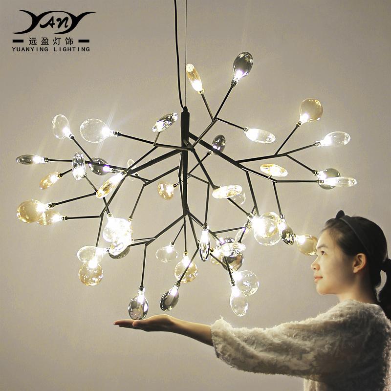 萤火虫吊灯北欧现代铁艺餐厅灯简约创意个性艺术树枝卧室客厅灯具-远盈灯饰旗舰店