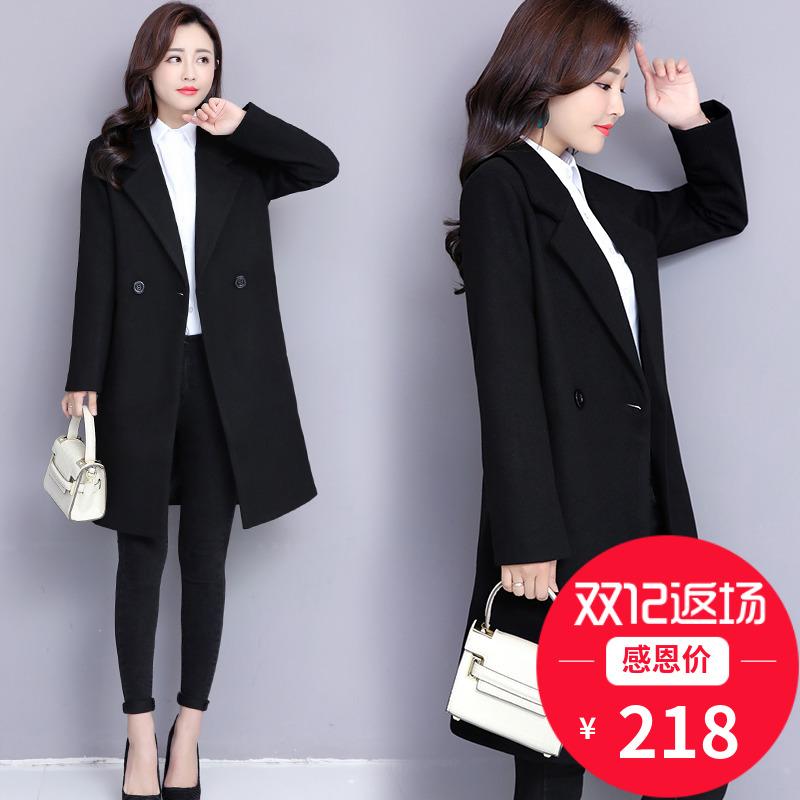 职业装呢子大衣女中长款秋冬季工作服工装售楼部加棉黑色毛呢外套