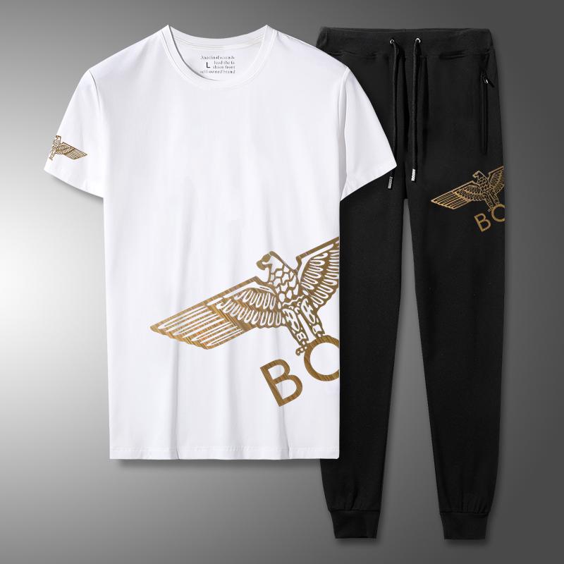 夏BOY老鹰休闲运动短袖长裤套装NY短袖T恤男大码潮男胖子短裤套装
