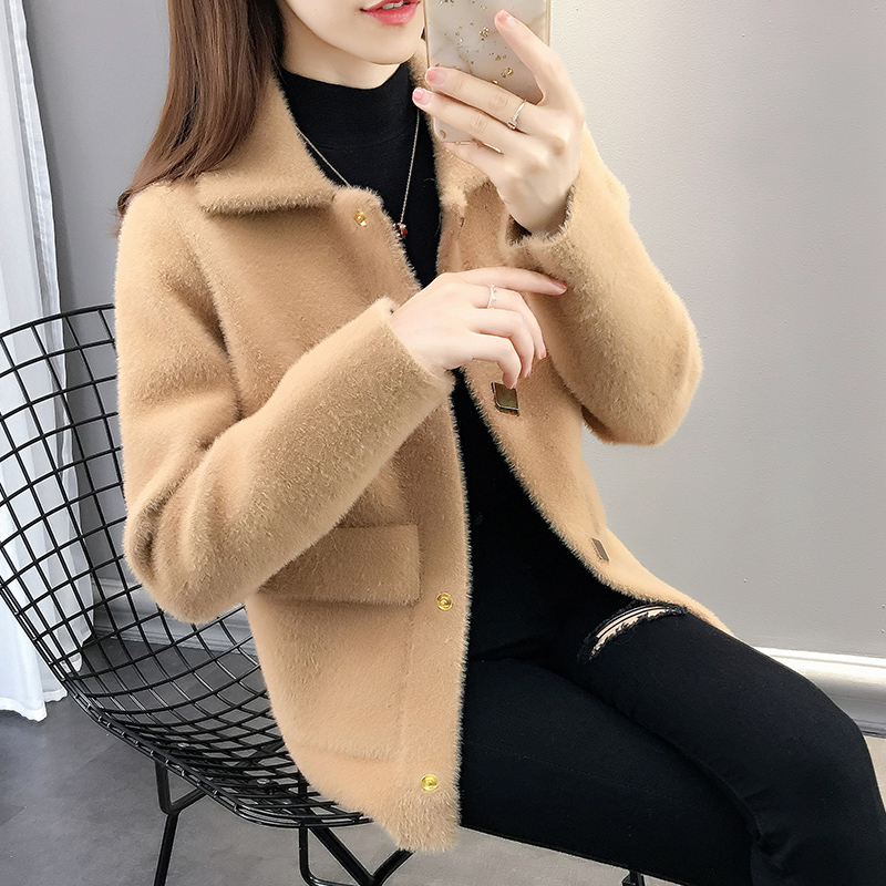 外套女2019新款韩版女装短外套水貂绒宽松毛衣女很仙的针织开衫潮满108元减10元