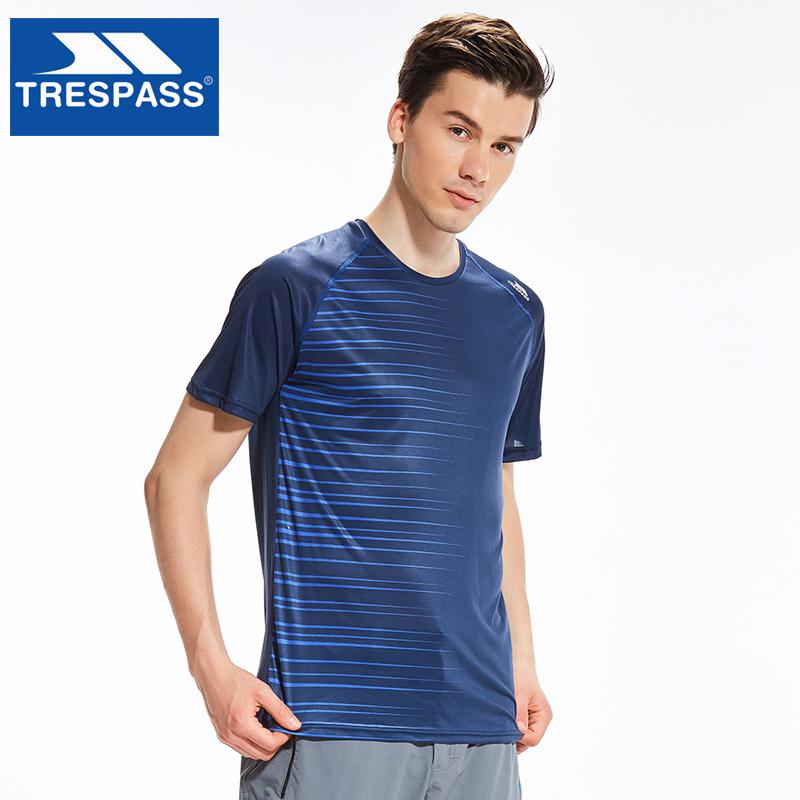 TRESPASS户外速干T恤男士吸汗跑步透气短袖快干上衣休闲运动棉T恤