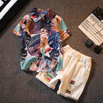 男童短袖花衬衫小儿童衬衣薄款宝宝韩版套装夏季中大童洋气上衣潮