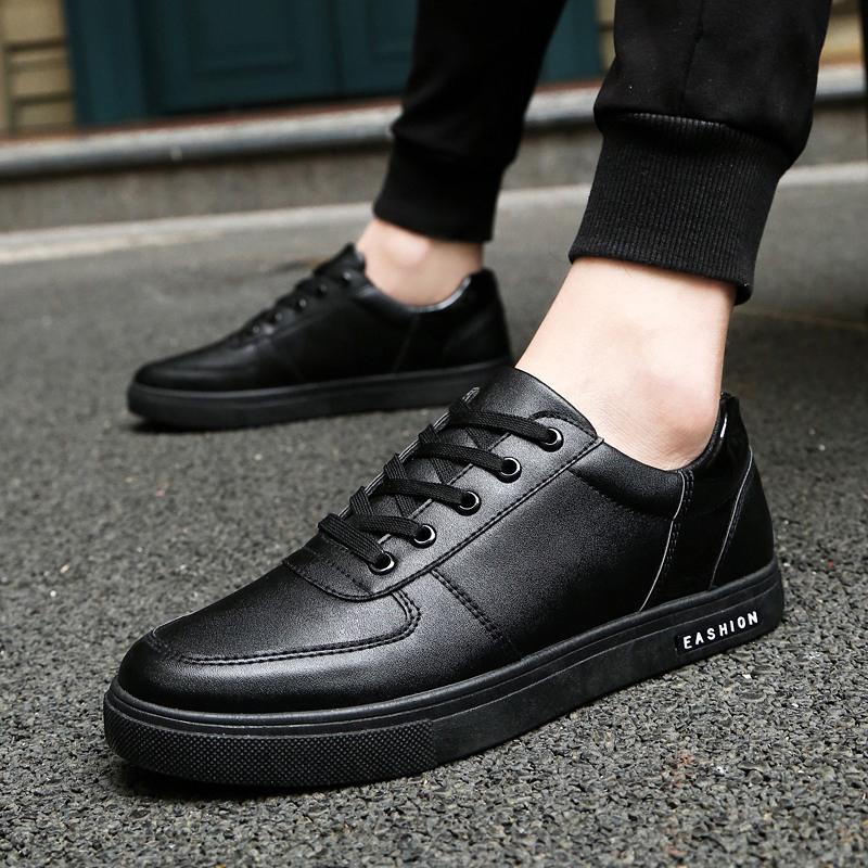 秋季防滑板鞋黑色男鞋子酒店厨师上班耐磨防水休闲皮鞋厨房工作鞋