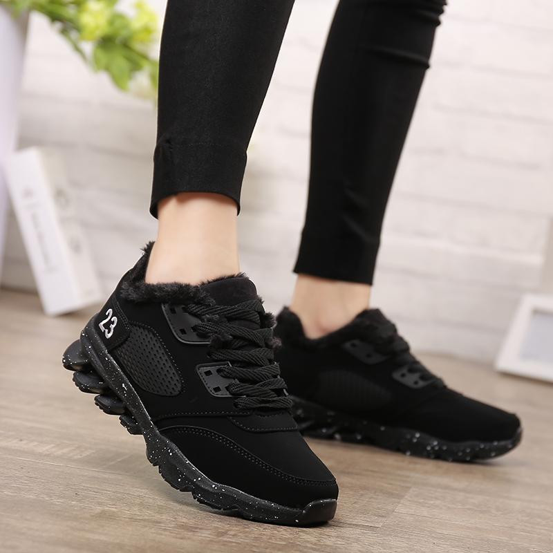 黑色女童鞋子10中大童初中学生12加绒15岁女孩棉鞋冬季保暖运动鞋