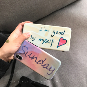 Gradient English alphabet Blu-ray Apple 8x Mobile Shell iPhone7plus/8/6s Soft shell Creative Fresh Women