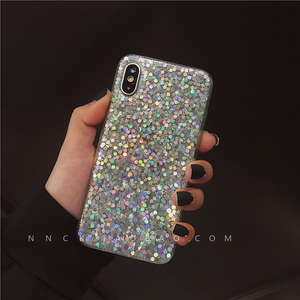 Net red with the same paragraph lanyard sequin Apple x mobile phone shell iphone7plus/6s Epoxy soft shell 8x drop 7 fema