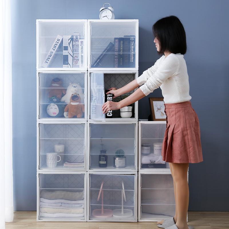 收纳箱塑料透明组合书柜简易整理储物收纳柜格子门开式带门收纳盒