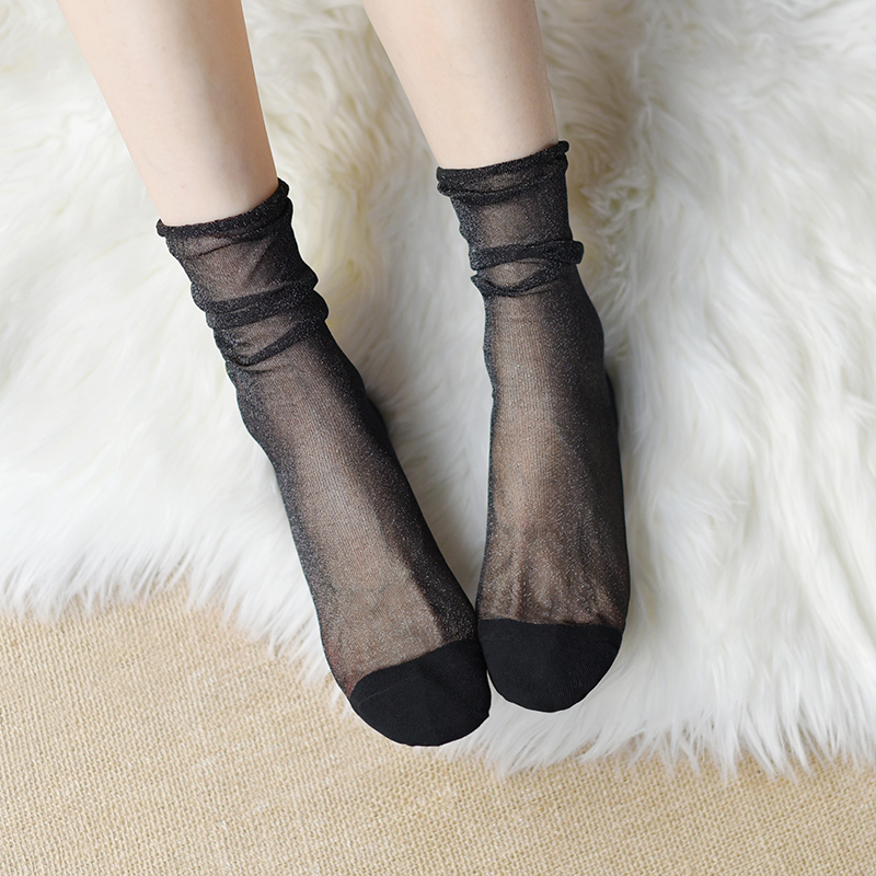 时髦珠光银丝堆堆袜女 春夏季薄款透明纱短袜子 仙女闪葱亮丝女袜
