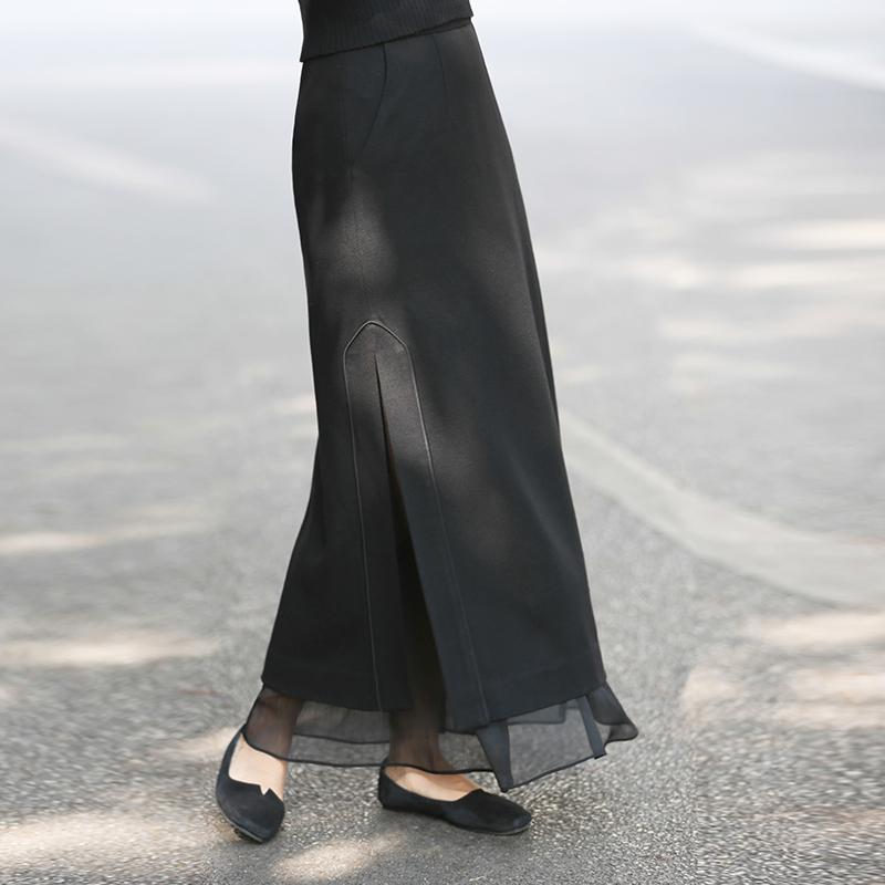 初蝉原创设计冬季女装新款中国风复古文艺直筒开叉半裙毛呢裙