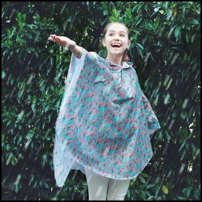 百屋单人旅游印花雨衣斗篷成人牛津布登山徒步小学生时尚女士雨披