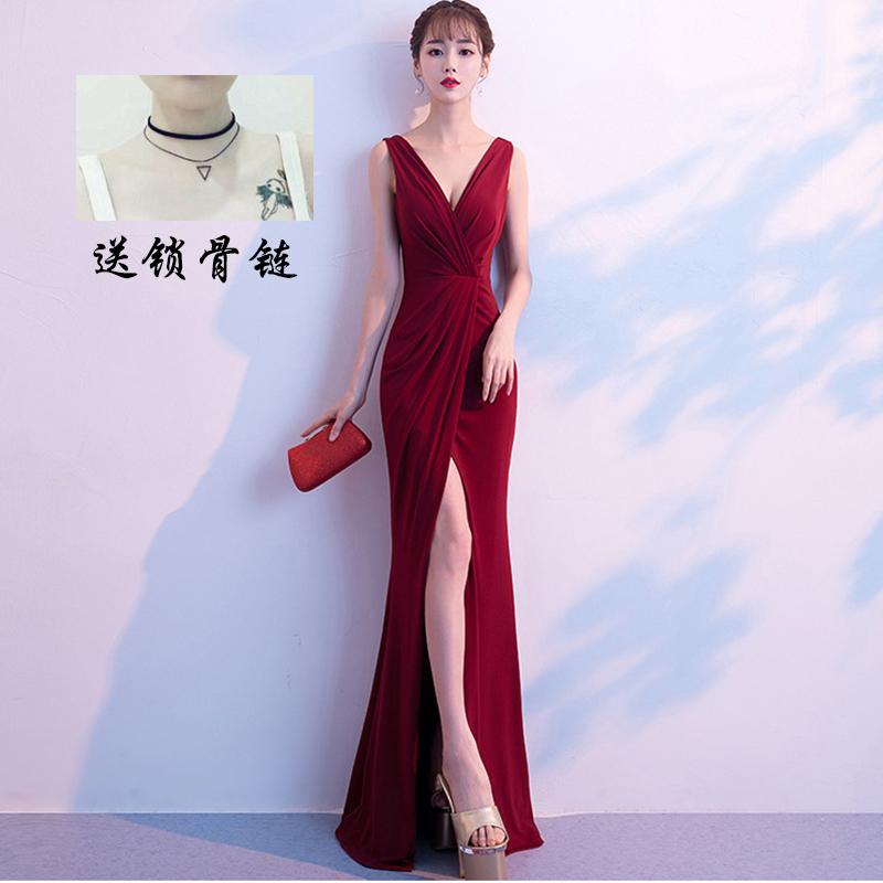 敬酒红色2019新款V领晚礼服女宴会性感长款黑砍袖连衣裙简单大方