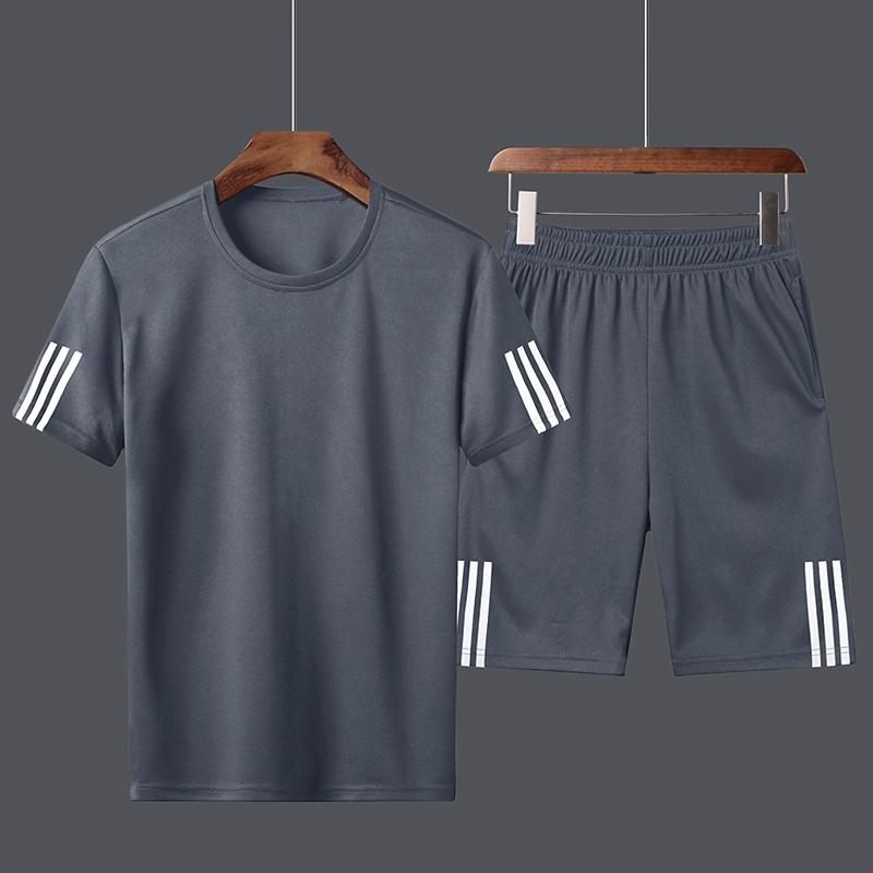 运动套装男大码短袖短裤夏季透气圆领速干T恤宽松健身跑步训练服
