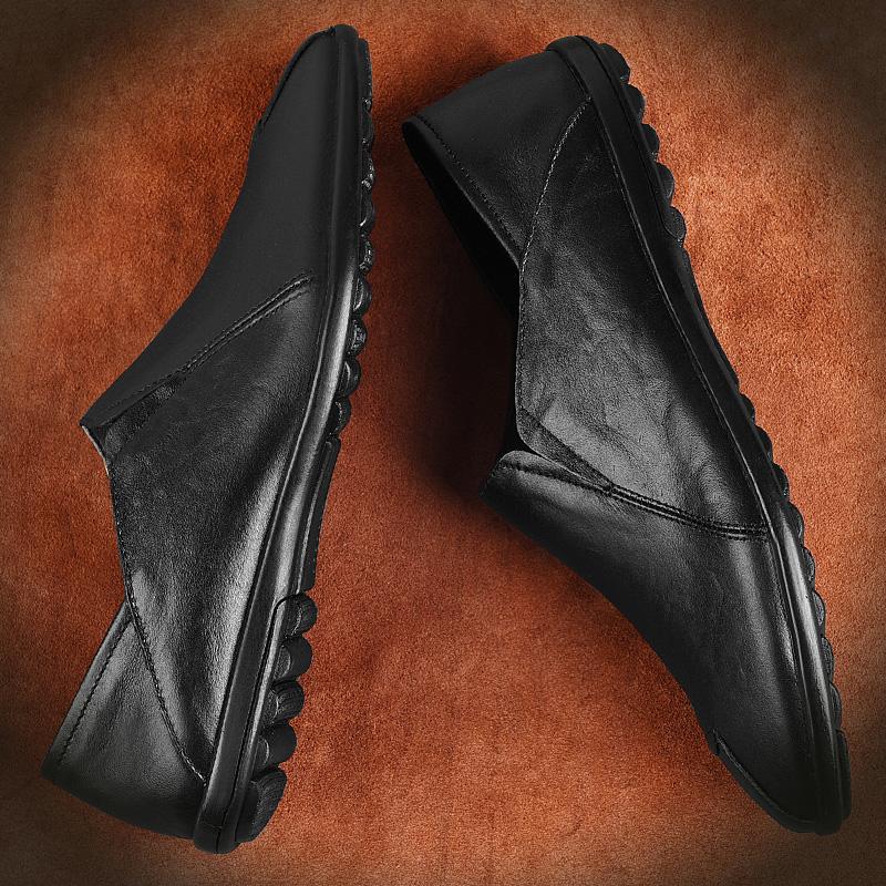 皮鞋男真皮内增高男鞋男士休闲鞋软底豆豆鞋子男冬季加绒保暖棉鞋