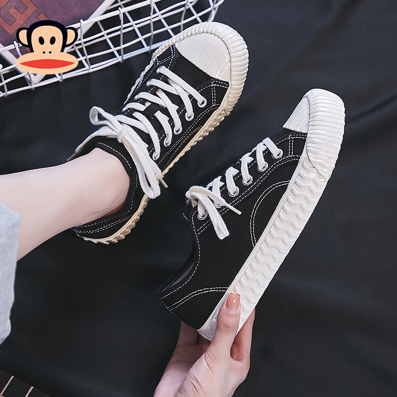 大嘴猴帆布鞋女ulzzang2019新款潮韩版百搭ins低帮板鞋学生情侣鞋