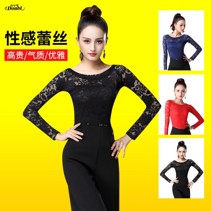 丹宝罗新款高档拉丁舞服装女成人练功服国标舞上衣摩登女装长袖黑