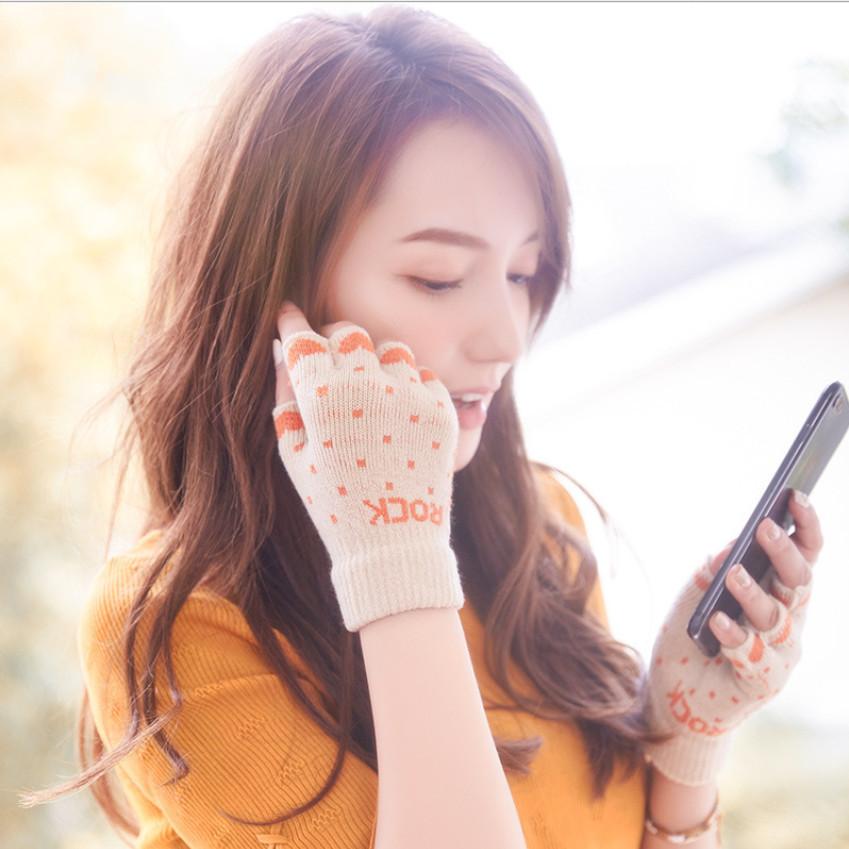 半指手套女冬韩版针织毛线可爱户外加绒加厚保暖学生露指写字触屏