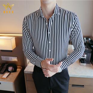 BEVK新款长袖衬衫男2020秋季新款商务休闲韩版潮流青年白男士衬衣