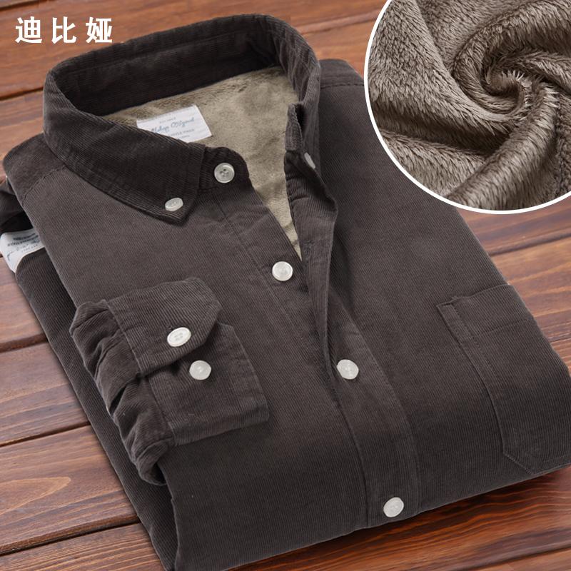 迪比婭秋鼕新款純棉燈芯絨加絨保暖襯衫男士純棉條絨加厚襯衣男