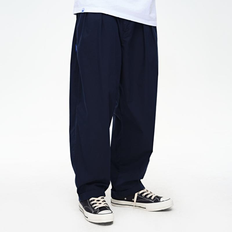 wassup2020ss夏季新款四色宽松双褶休闲长裤萝卜裤