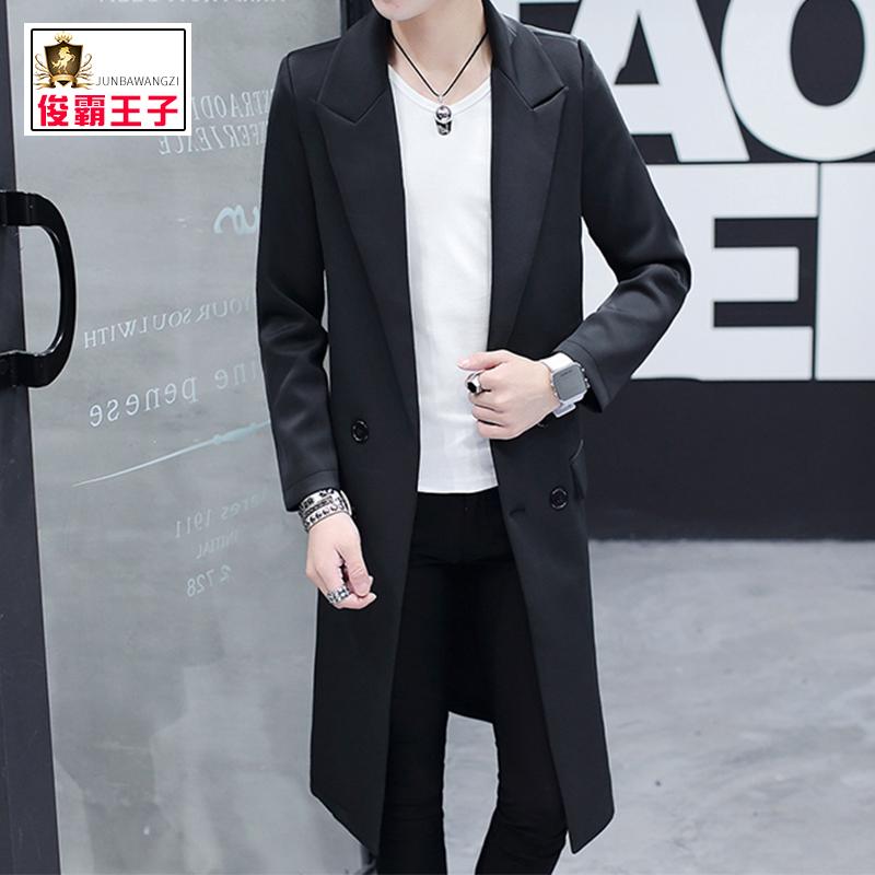 男士外套秋季加絨加厚中長款風衣韓版潮流修身帥氣大衣春秋裝夾克
