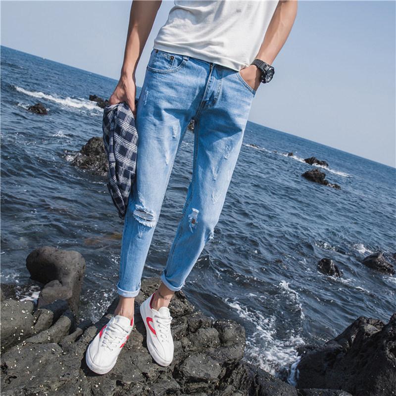 ins破洞牛仔裤男夏季浅色薄款小脚九分裤修身韩版潮牌九分乞丐裤