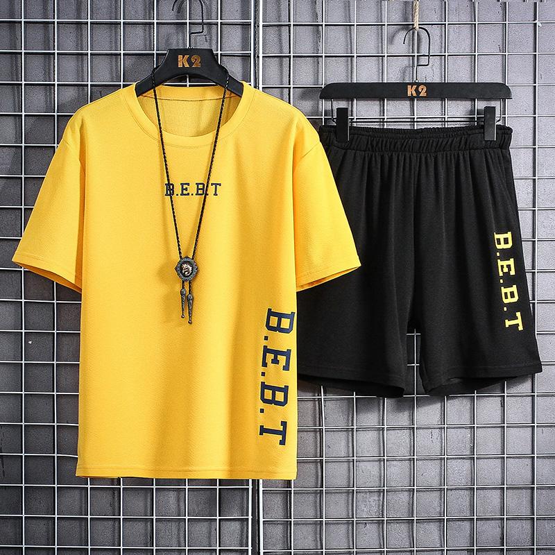 夏季冰丝圆领运动短袖T恤休闲跑步宽松速干男士五分裤体恤男套装