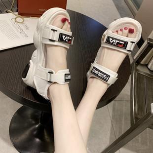 魔术贴厚底凉鞋女2019韩版夏