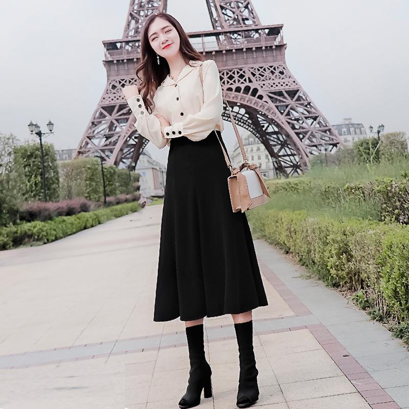 秋装2019年新款女装收腰显瘦气质衬衫裙子女神法式两件套连衣裙女