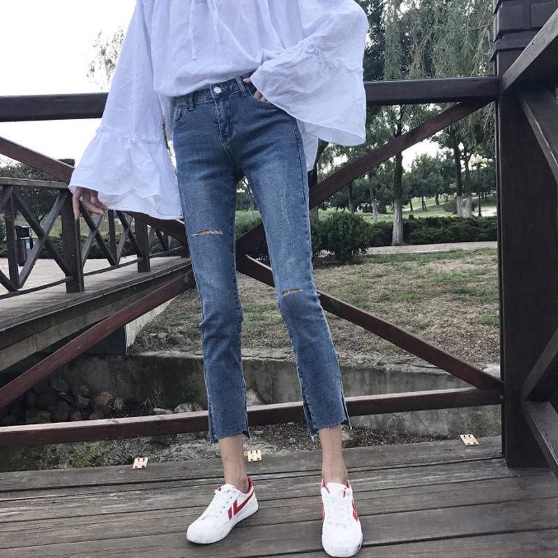 网红烂破洞牛仔裤女2019春款夏春季新款宽松显瘦八分cec裤子直筒