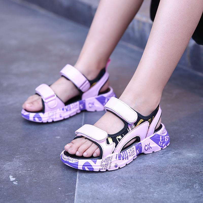 女童凉鞋2019新款中大童韩版时尚夏小女孩公主鞋软底女童鞋休闲鞋