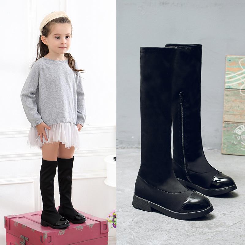 女童靴子过膝长靴2017秋冬新款公主高筒靴马丁棉靴加绒冬季宝宝小