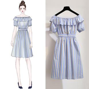 连衣裙女夏季2018新款冷淡风极简主义条纹一字漏肩imiss初恋裙子