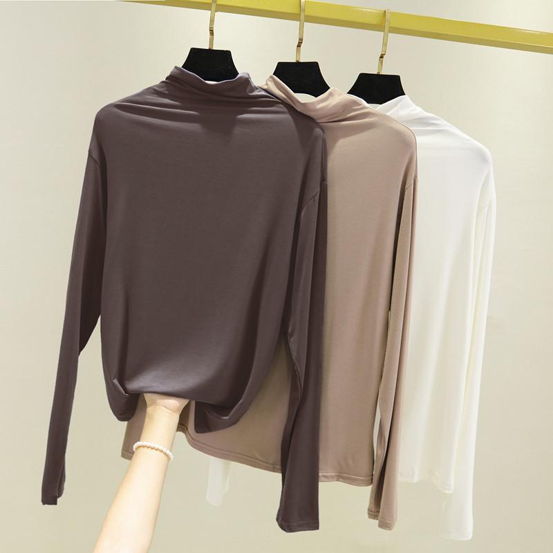 莫代尔内搭长袖t恤女半高领打底衫春秋新款修身百搭堆堆领薄上衣