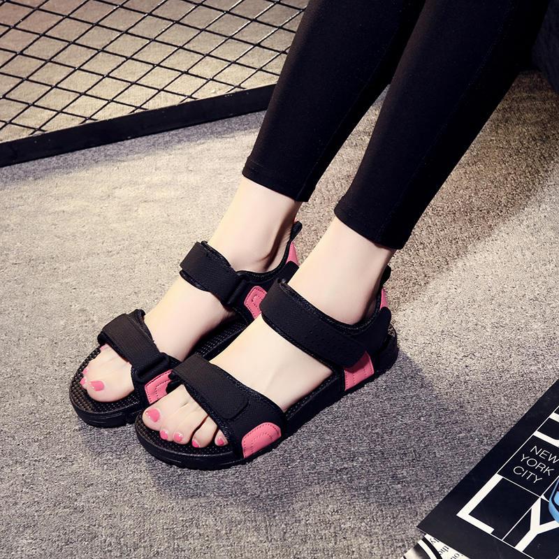 夏季厚底罗马鞋凉鞋女仙女风海边度假外穿沙滩鞋学生平底防滑百搭
