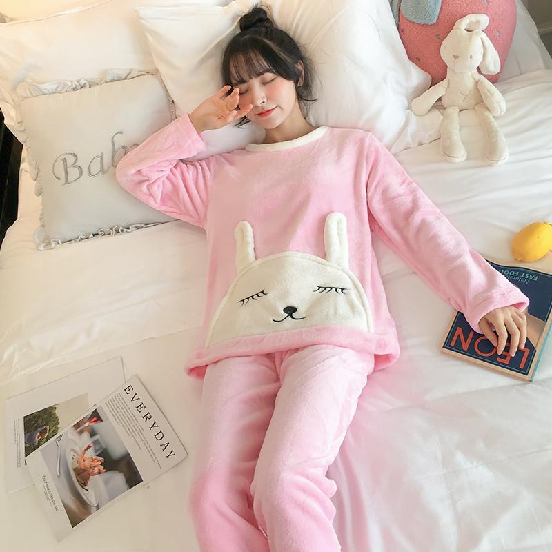 冬天睡衣加厚珊瑚绒女士保暖法兰绒家居服休闲长袖可外穿学生套装