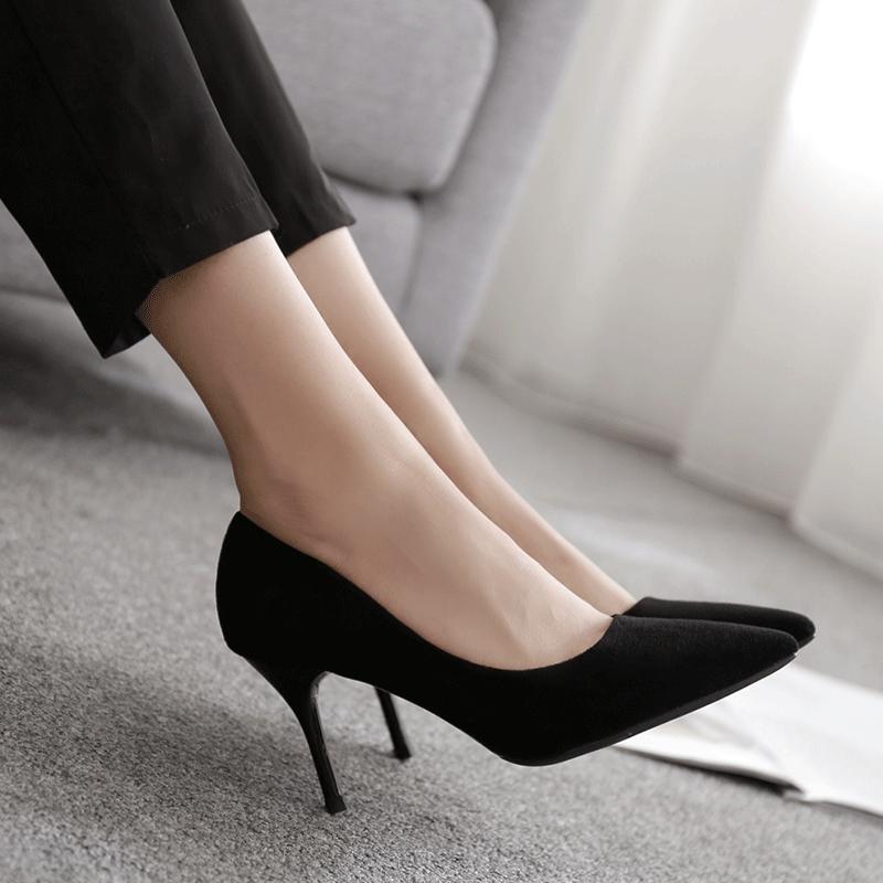 黑色绒面高跟鞋尖头细跟中跟优雅百搭OL职业工作面试女单鞋5cm7cm