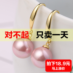 Pearl earrings female s925 sterling silver ear hook earring temperament long earrings authentic ear jewelry retro natural bead