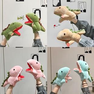 情侣手套女冬季学生萌可爱卡通鳄鱼恐龙爪子毛绒儿童保暖加厚骑行