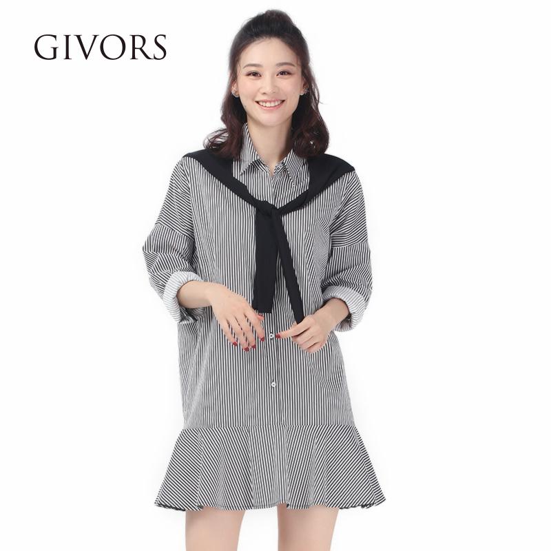 GIVORS衬衫领荷叶边短裙女秋2017新款长袖条纹休闲假两件连衣裙