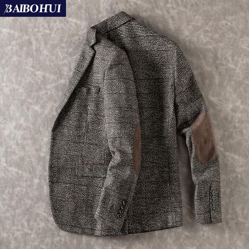 秋季新款中年商务休闲呢子小西装男士外套修身时尚单件西服男上衣