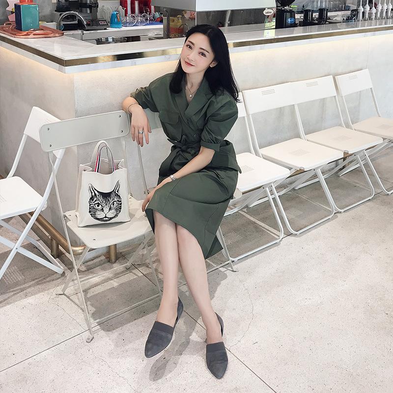 周婷ttc 工装风围裹式收腰连衣裙女夏2018新款军绿色气质短袖裙子