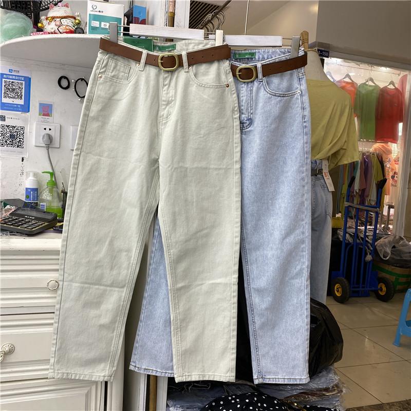 MOER9616牛仔裤女2020夏季新款高腰直筒百搭破洞宽松显瘦哈伦裤