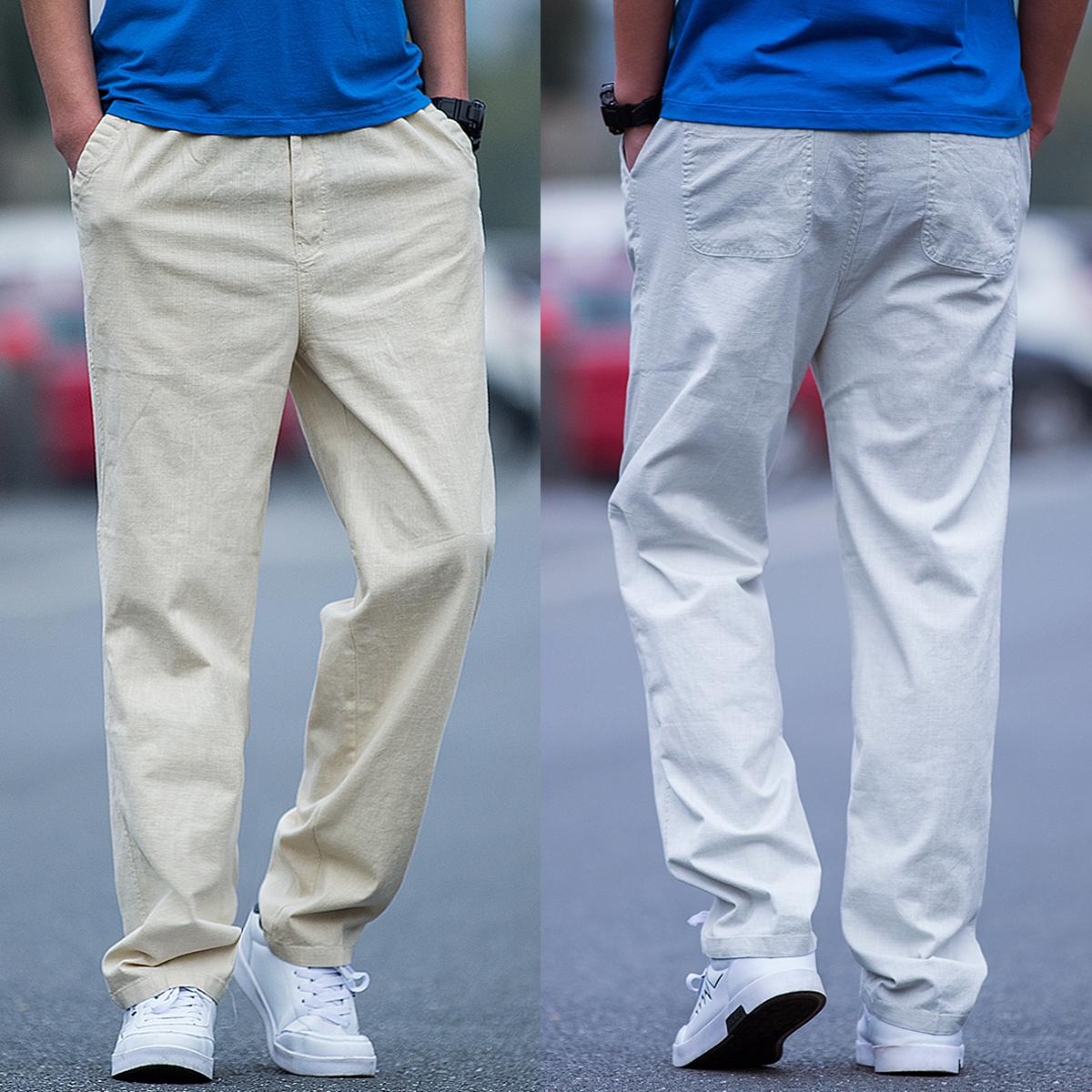 夏季薄款休闲裤男宽松直筒大码运动裤男纯棉裤子系带松紧腰长裤