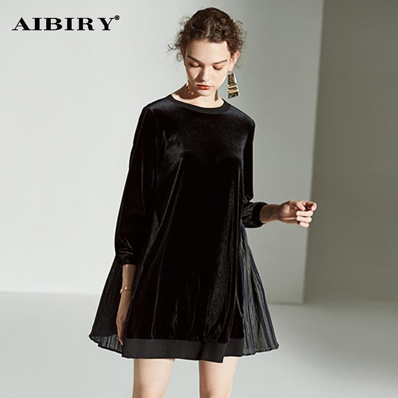 埃比芮2019春季新款灯笼袖宽松大码连衣裙气质褶皱遮肉显瘦A字裙