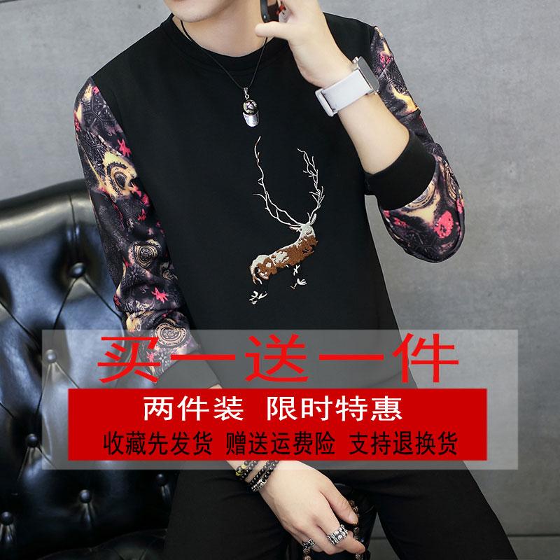 买一送一秋冬男士长袖T恤加绒打底衫加厚韩版圆领卫衣学生潮2件装