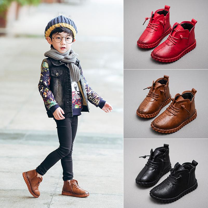 童鞋男童棉鞋2017秋冬透气休闲女童宝宝防滑二中高帮保暖儿童棉鞋